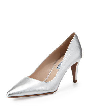 Metallic Saffiano Low-Heel Pointy Pump