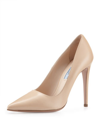Leather High-Heel Pointy Pump, Nude