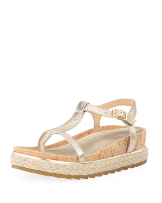 Cleo Brushed Leather Thong Sandal, Platino