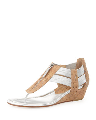 Dori Metallic Demi-Wedge Sandal, Silver/Natural