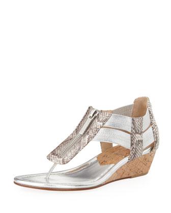Dori Snake-Print Demi-Wedge Sandal, Silver