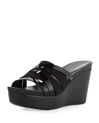 Jean Strappy Wedge Sandal, Black