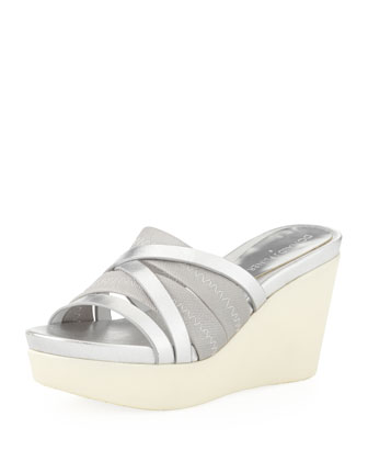 Jean Strappy Wedge Sandal, Silver
