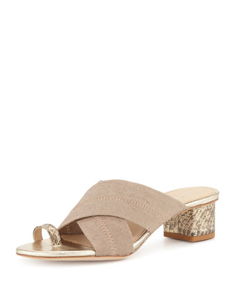 Mara Metallic Toe-Ring Sandal, Platino/Natural