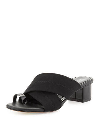 Mara Stretch-Mesh Toe-Ring Sandal, Black