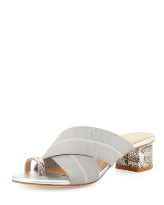 Mara Metallic Toe-Ring Sandal, Silver