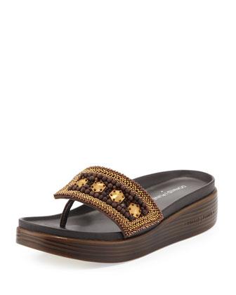 Fifi Beaded Platform Sandal, Bronze