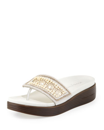 Fifi Beaded Platform Sandal, White
