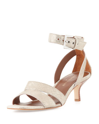 Margi Metallic Kitten Heel Sandal, Bronze