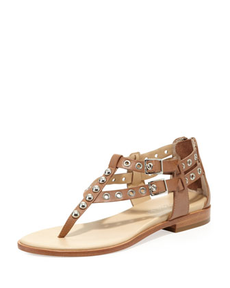 Lulu Studded Leather Sandal, Natural