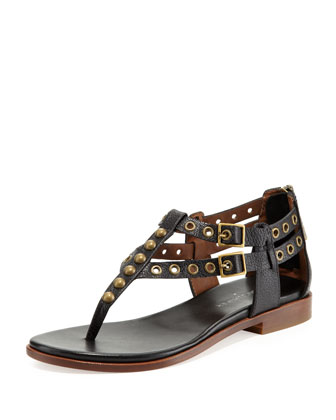 Lulu Studded Leather Sandal, Black