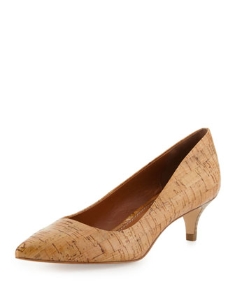 Franc Cork Kitten Heel Pump, Natural