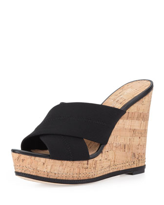 Kaz Crisscross Cork Wedge Sandal, Black