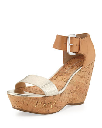 Malibu Ankle-Strap Cork Wedge, Platino