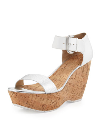 Malibu Ankle-Strap Cork Wedge, Silver Foam