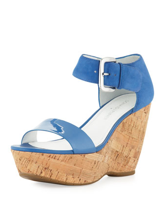 Malibu Ankle-Strap Cork Wedge, Capri Blue