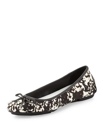 Riki Spotted Calf Hair Ballerina Flat, Black/White