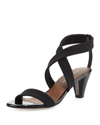 Vona Strappy Stretch Sandal, Black