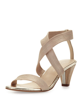 Vona Strappy Stretch Sandal, Platino