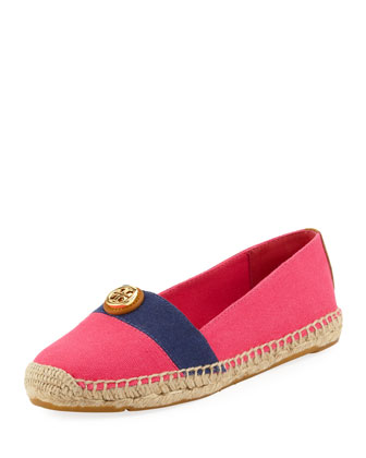 Beacher Canvas Espadrille Flat, Pink/Navy