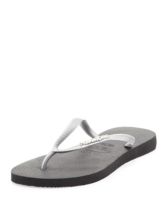 Slim Metallic Flip-Flop, Black/Silver
