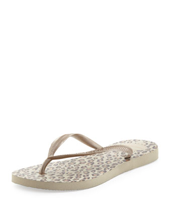 Animal Print Flip-Flop, Sandy Gray