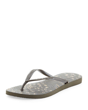 Animal Print Flip-Flop, Dark Khaki
