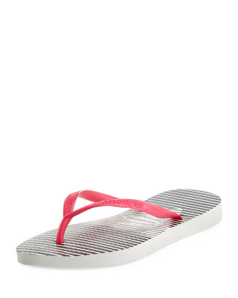 Slim Striped Flip Flop, White/Pink