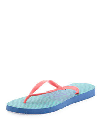 Slim Striped Flip Flop, Light Blue