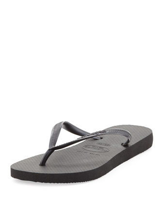 Slim Metallic Flip-Flop, Black