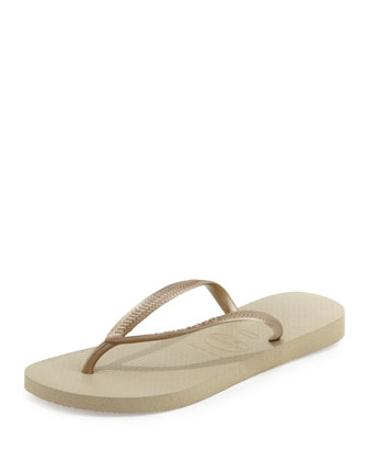 Slim Metallic Flip-Flop, Sand Gray/Gold