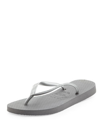 Slim Metallic Flip-Flop, Gray/Silver
