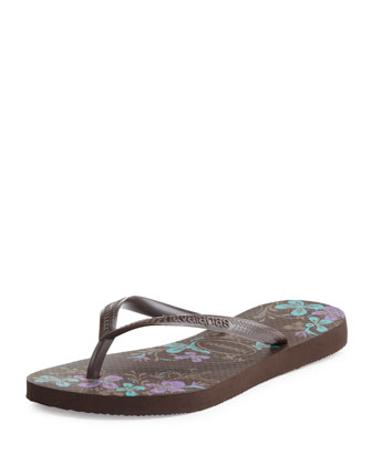 Slim Floral Print Flip-Flop, Dark Brown
