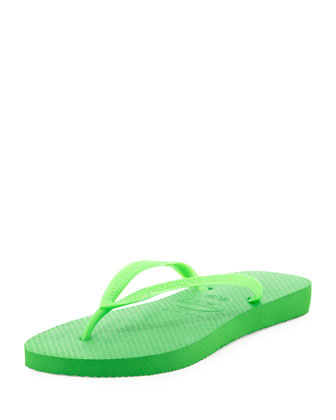 Slim Metallic Flip-Flop, Neon Green