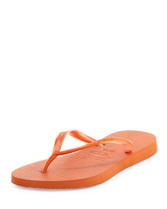 Slim Metallic Flip-Flop, Neon Orange