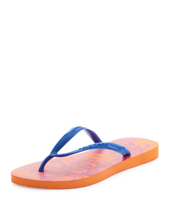 Slim Lace Print Flip-Flop, Neon Orange
