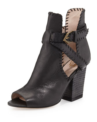 Minnie Whipstitch Cutout Bootie