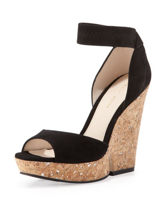 Una Cork Wedge Sandal, Black