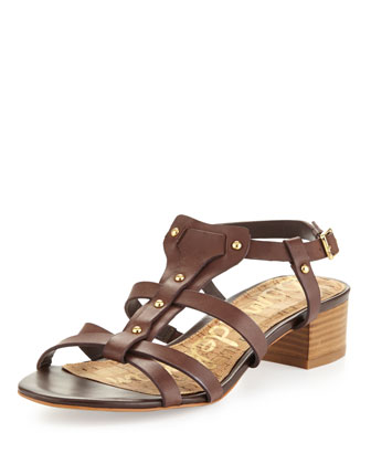 Angela Studded T-Strap Sandal, Dark Brown