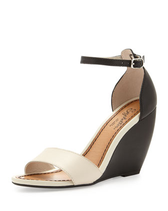 Thyme Two-Tone Wedge Sandal, Off White/Black