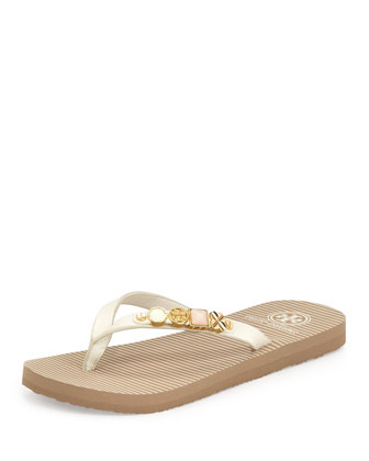 Kiley Leather Charm Flat Flip-Flop, Ivory