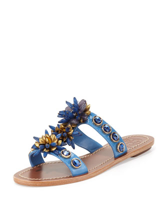 Sydney Embellished Patent Sandal, Wedge Blue