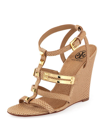 Iliana Snake-Print Gladiator Wedge, Clay Beige
