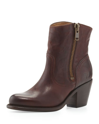 Leslie Leather Zip Bootie, Dark Brown