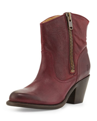 Leslie Leather Zip Bootie, Burgundy
