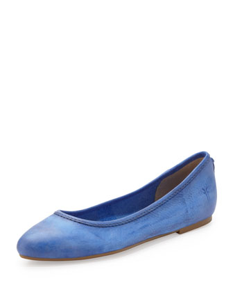 Regina Leather Skimmer Flat, Blue
