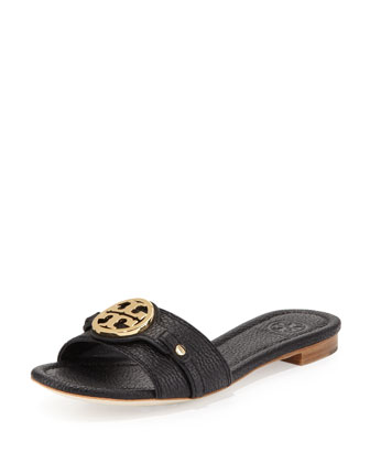 Leticia Leather Logo Slide, Black