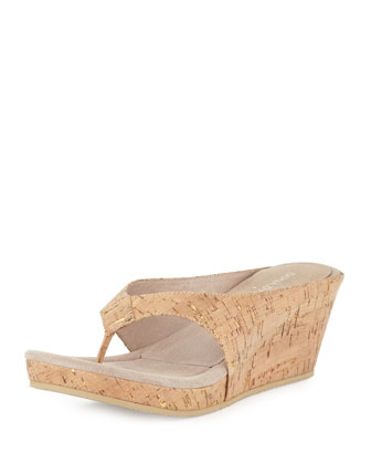 Gilles Cork Wedge Thong Slide, Natural