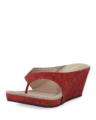 Gilles Cork Wedge Thong Slide, Red