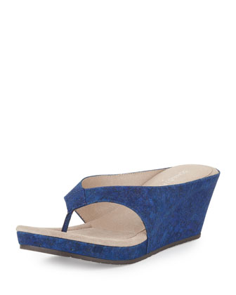 Gilles Cork Wedge Thong Slide, Indigo